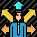 arrow, avatar, business, businessman, choice, decide, direction