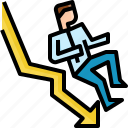 arrow, business, businessman, crisis, down, fail, finance