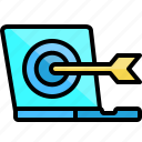 arrow, computer, dart, laptop, monitor, target, technology