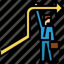 arrow, businessman, direction, hold, navigation, success