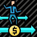 arrow, businessman, coin, direction, financial, growth, move