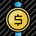 arrow, coin, dollar, finance, growth, money, up