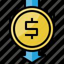 arrow, coin, direction, dollar, down, finance, money