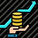 arrow, coins, finance, growth, hold, money, success