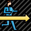 arrow, avatar, business, forward, man, move, run