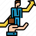 arrow, businessman, growth, hand hold, success, support, team