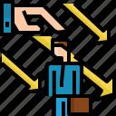 arrow, businessman, down, hand, negative, team, unsupport