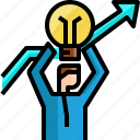 arrow, businessman, good, ideas, light bulb, success, winner