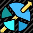 analytics, arrow, chart, market, pie, share, statistics