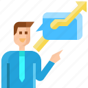 arrow, avatar, bubble, businessman, message, positive, talking