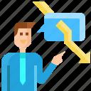 arrow, avatar, businessman, down, message, negative, talking