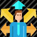 arrow, avatar, business, businessman, choice, choose, decide