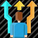 arrow, businessman, choice, crossroad, decide, left, right