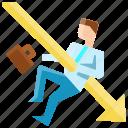arrow, attack, business, businessman, crisis, down, finance
