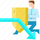 arrow, attack, business, businessman, crisis, shield