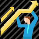 arrow, business, businessman, graph, growth, success, up