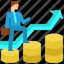 arrow, businessman, coins, finance, growth, stair, success