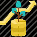 arrow, coins, growth, money, plant, success, tree