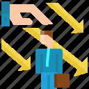 arrow, businessman, down, fail, negative, team, unsupport