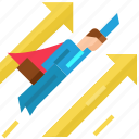 arrows, businessman, direction, fly, growth, hero, success