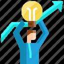 arrow, businessman, good, growth, ideas, light bulb, success