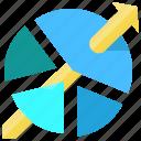 analytics, arrow, graph, market, pie chart, share, statistics