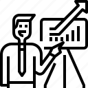 arrow, avatar, businessman, graph, growth, meeting, report