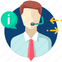 answer, business, businessman, call, consultant, service icon