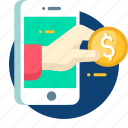 banking, business, debit, dollar, mobile, money icon