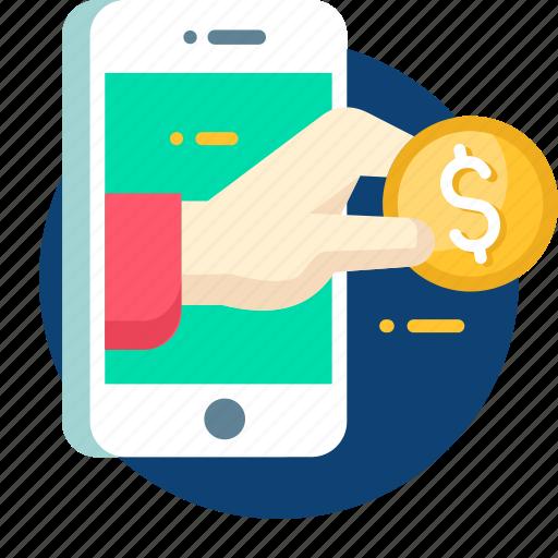 banking, business, debit, dollar, mobile, money icon
