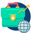 bag, business, case, globel, grow, growth icon