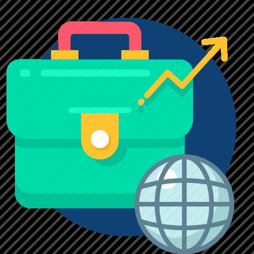 bag, business, case, globel, grow, growth icon