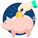 bank, business, dollar, money, piggy, save icon