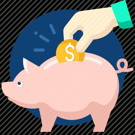 bank, business, dollar, money, piggy, save icon
