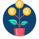 business, dollar, leaf, money plant, pot, tree icon