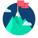 achieve, business, mission, mountain, target icon