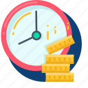 business, coin, dollar, money, time icon