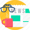 media, morning, news, newspaper, social, spects, tea icon