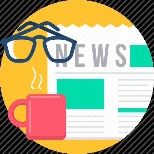 media, morning, news, newspaper, social, spects, tea icon