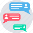 discussion, feedback, livechat, message, response, comment, dialogue