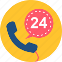 call, contact, duration, hours, support, time, twenty four icon