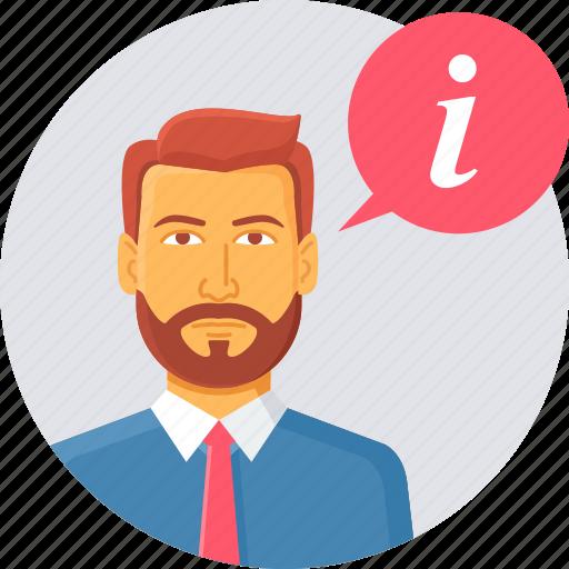 customer, executive, faq, help, information, man, support icon