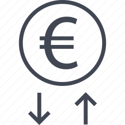 arrows, down, euro, money, sing, up, wealth icon