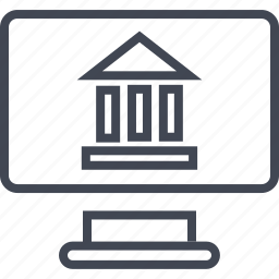bank, banking, computer, monitor, online, screen, web icon