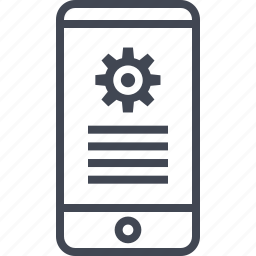 bank, banking, cell, gear, options, phone, setup icon