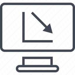 arrow, computer, down, graph, monitor, online, report icon