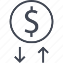 arrow, coin, dollar, money, sign, transactions, up icon