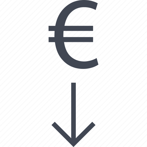 arrow, business, down, euro, point, sign icon