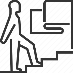 businessman, career, climbing up, employee, stairs, success, target icon
