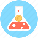 economy, euro in flask, flask, investment plan, money experiment icon